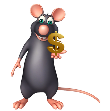 whisker characters: 3d rendered illustration of Rat cartoon character with dollar sign