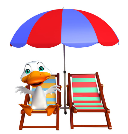 toonimal: 3d rendered illustration of Duck cartoon character with beach chair Stock Photo
