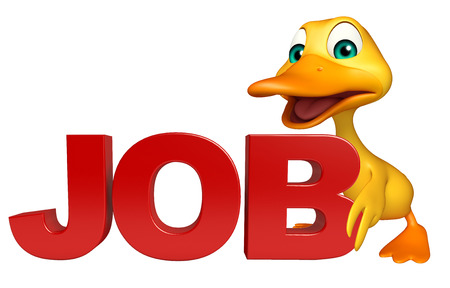 job hunting: 3d rendered illustration of Duck cartoon character with job sign Stock Photo