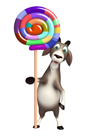 lollypop: 3d rendered illustration of Goat cartoon character with lollypop