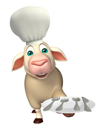 dinner plate: 3d rendered illustration of Sheep cartoon character with chef hat and dinner plate Stock Photo