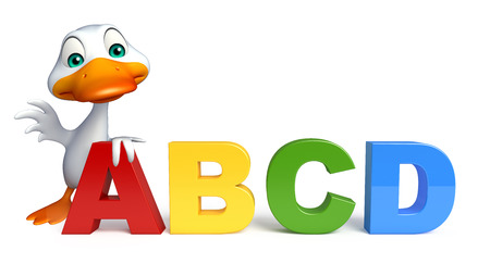 abcd: 3d rendered illustration of Duck cartoon character with ABCD sign