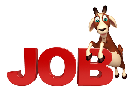 job hunting: 3d rendered illustration of Goat cartoon character with job sign Stock Photo