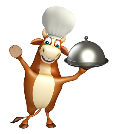 chrome: 3d rendered illustration of Bull cartoon character with chef hat and cloche