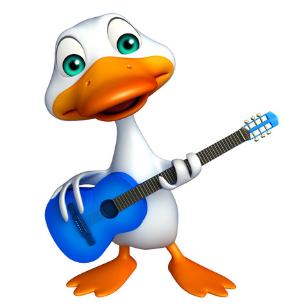 duck meat: 3d rendered illustration of Duck cartoon character with guitar