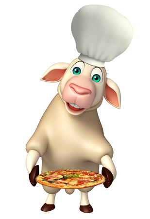 chef 3d: 3d rendered illustration of Sheep cartoon character with chef hat and pizza Stock Photo