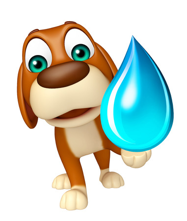 ear drop: 3d rendered illustration of Dog cartoon character with water drop