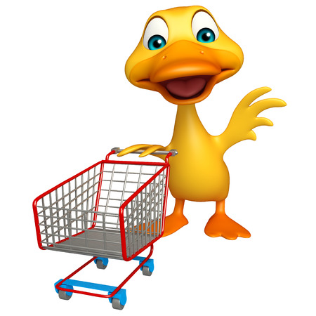 trolly: 3d rendered illustration of Duck cartoon character with trolly