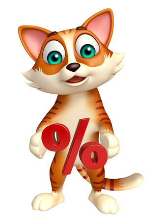 percentage sign: 3d rendered illustration of cat cartoon character with percentage sign Stock Photo