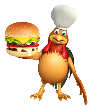 toonimal: 3d rendered illustration of chiken cartoon character with chef hat and burger