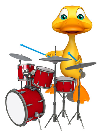 pato caricatura: 3d rindió la ilustración de personaje de dibujos animados del pato con el tambor Foto de archivo