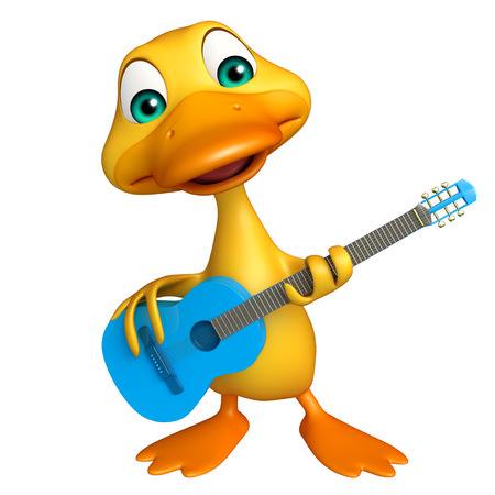 animal farm duck: 3d rendered illustration of Duck cartoon character with guitar