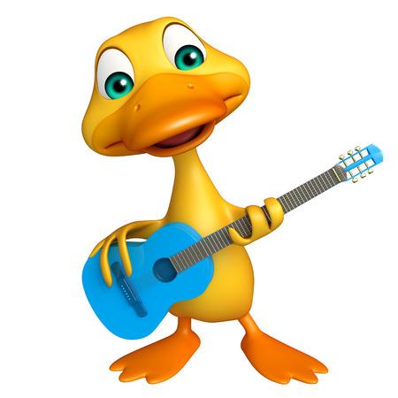 pato caricatura: 3d rindió la ilustración de personaje de dibujos animados del pato con la guitarra