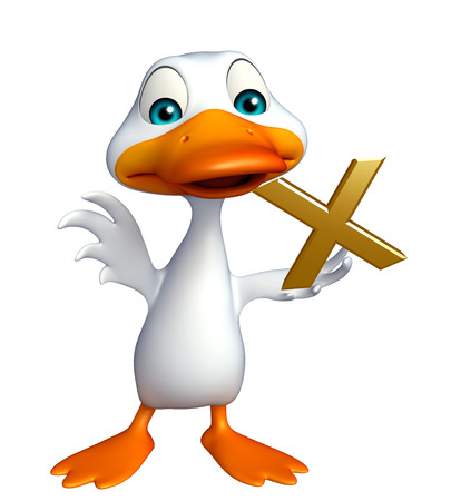 red cross red bird: 3d rendered illustration of Duck cartoon character with wrong sign