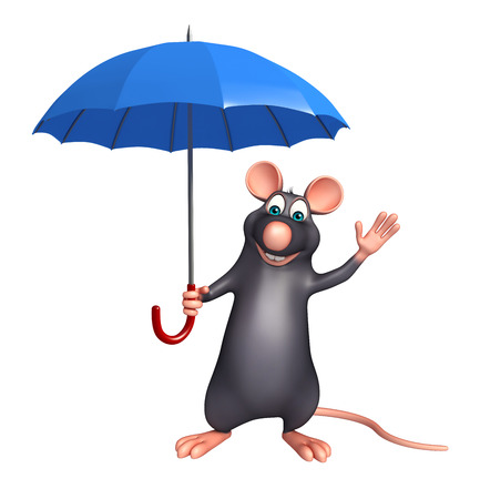 whisker characters: 3d rendered illustration of Rat cartoon character with umbrella