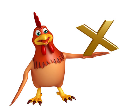 3d rendered illustration of Hen cartoon character  with wrong sign