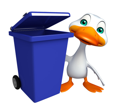 toonimal: 3d rendered illustration of Duck cartoon character with dustbin