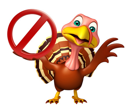 drive ticket: 3d rendered illustration of Turkey cartoon character with stop sign Stock Photo
