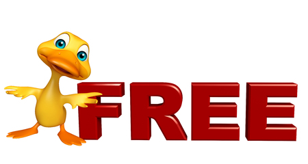 toonimal: 3d rendered illustration of Duck cartoon character with free sign Stock Photo