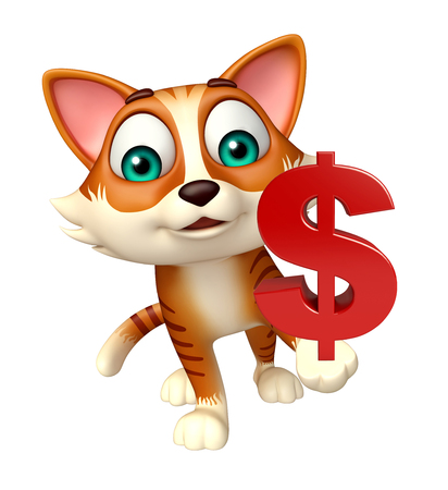 money cat: 3d rendered illustration of cat cartoon character with dollar sign