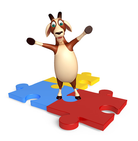 see saw: 3d rendered illustration of Goat cartoon character with puzzle