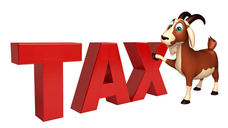 obligation: 3d rendered illustration of Goat cartoon character with tax