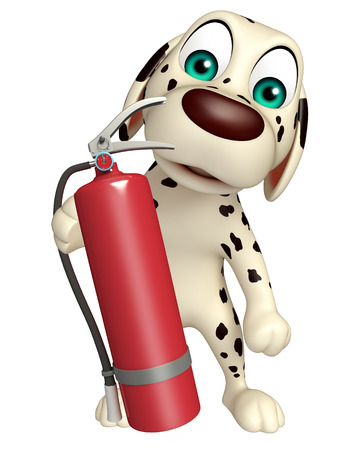 fire extinguishing: 3d rendered illustration of Dog cartoon character with fire extinguisher Stock Photo