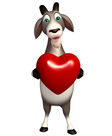 horn like: 3d rendered illustration of Goat cartoon character with heart Stock Photo
