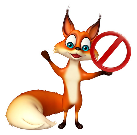 zoo traffic: 3d rendered illustration of Fox cartoon character   with stop sign
