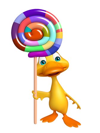 lollypop: 3d rendered illustration of Duck cartoon character with lollypop