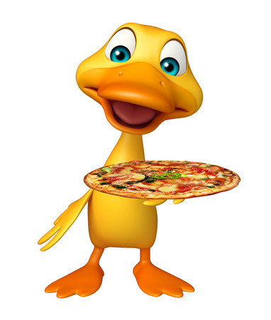 directly: 3d rendered illustration of Duck cartoon character with pizza Stock Photo