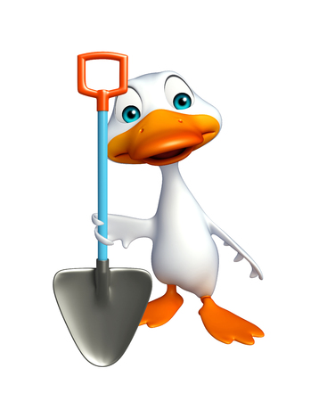 digging: 3d rendered illustration of Duck cartoon character with digging shovel Stock Photo