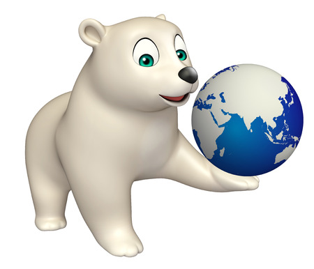hunny: 3d rendered illustration of Bear cartoon character with earth