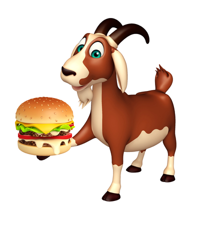 goat cheese: 3d rendered illustration of Goat cartoon character with burger Stock Photo