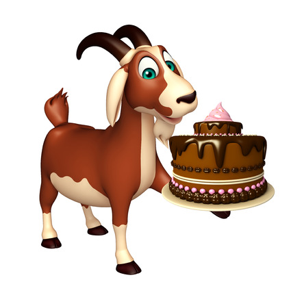 savoury: 3d rendered illustration of Goat cartoon character with cake Stock Photo