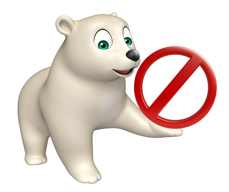 hunny: 3d rendered illustration of Bear cartoon character with stop sign