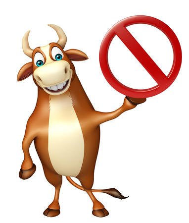 traffic ticket: 3d rendered illustration of Bull cartoon character with stop sign