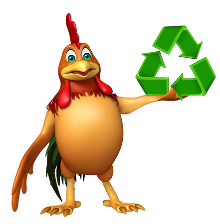 chiken: 3d rendered illustration of chiken cartoon character with recycle sign