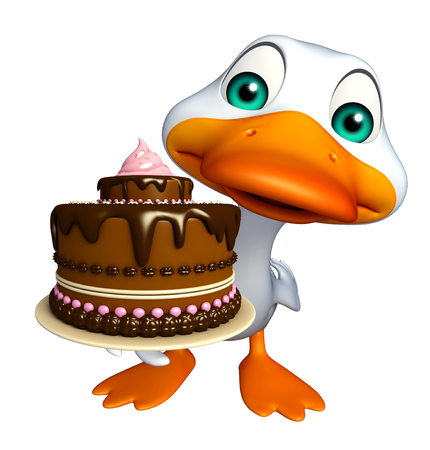 toonimal: 3d rendered illustration of Duck cartoon character with cake Stock Photo