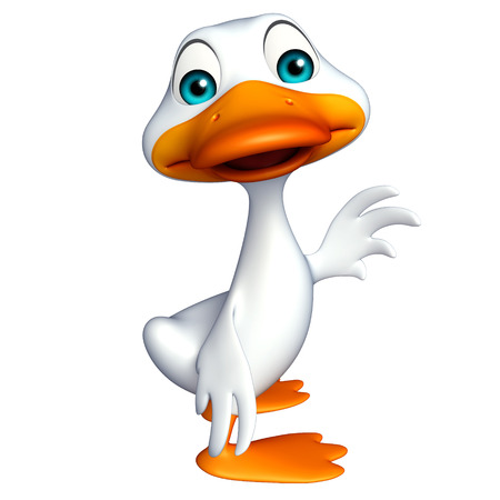 toonimal: 3d rendered illustration of Duck funny cartoon character