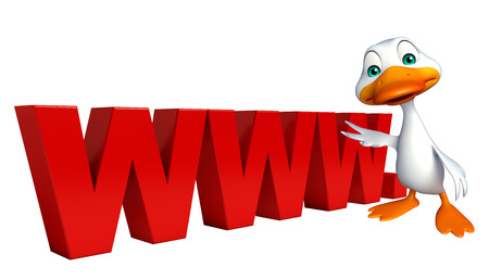 duck meat: 3d rendered illustration of Duck cartoon character with www. sign Stock Photo