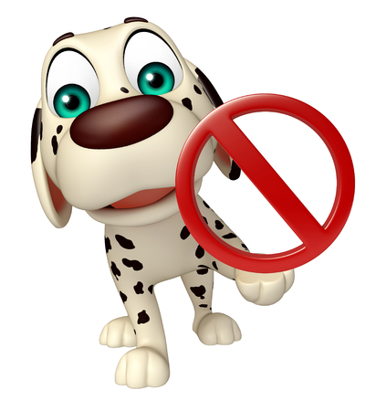 drive ticket: 3d rendered illustration of Dog cartoon character with stop sign