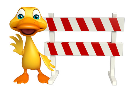 security lights: 3d rendered illustration of Duck cartoon character with baracades