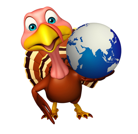 toonimal: 3d rendered illustration of Turkey cartoon character with earth
