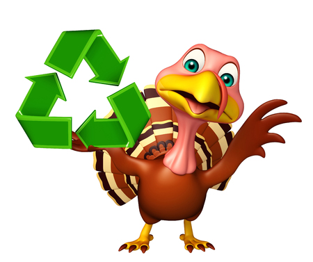 toonimal: 3d rendered illustration of Turkey cartoon character with recycle sign