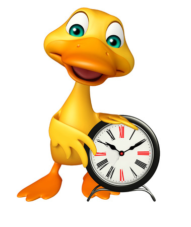 wake up happy: 3d rendered illustration of Duck cartoon character with clock