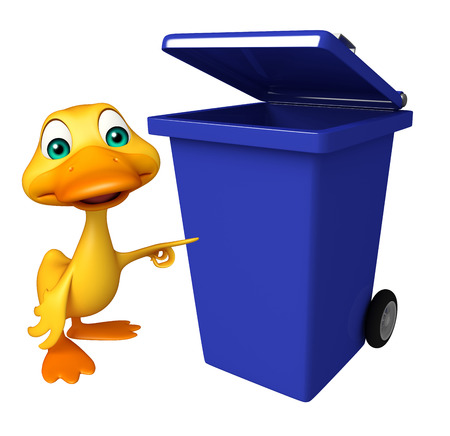 wastebasket: 3d rendered illustration of Duck cartoon character with dustbin
