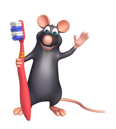 rata: 3d rindió la ilustración de personaje de dibujos animados Rata con el cepillo de dientes