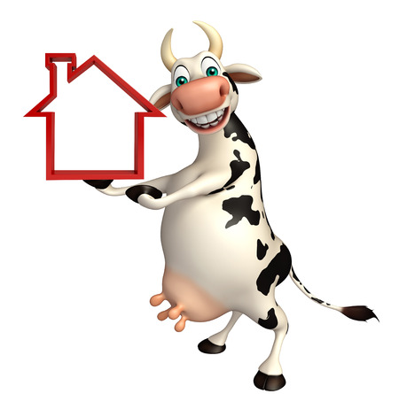 pastoral: 3d rendered illustration of Caw cartoon character with home sign