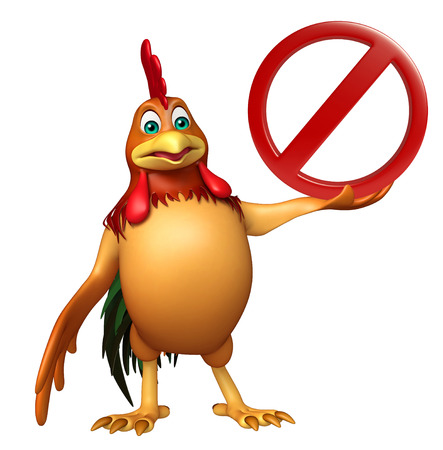 chiken: 3d rendered illustration of chiken cartoon character with stop sign